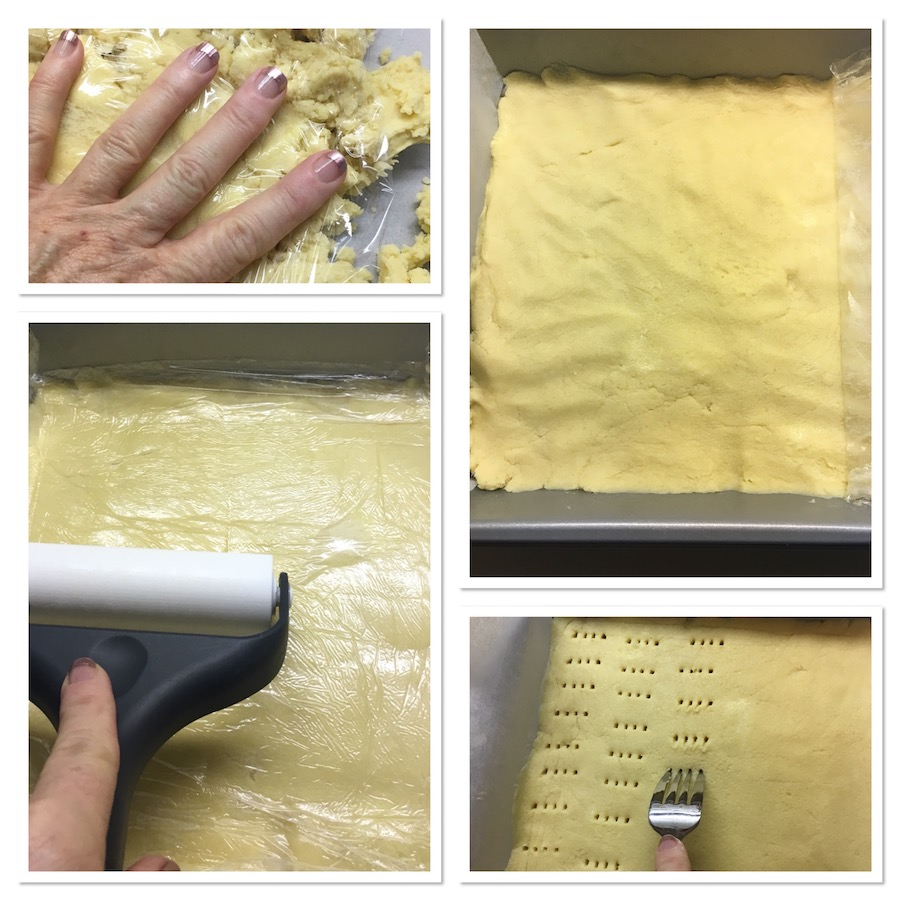 pressing shortbread into pan collage