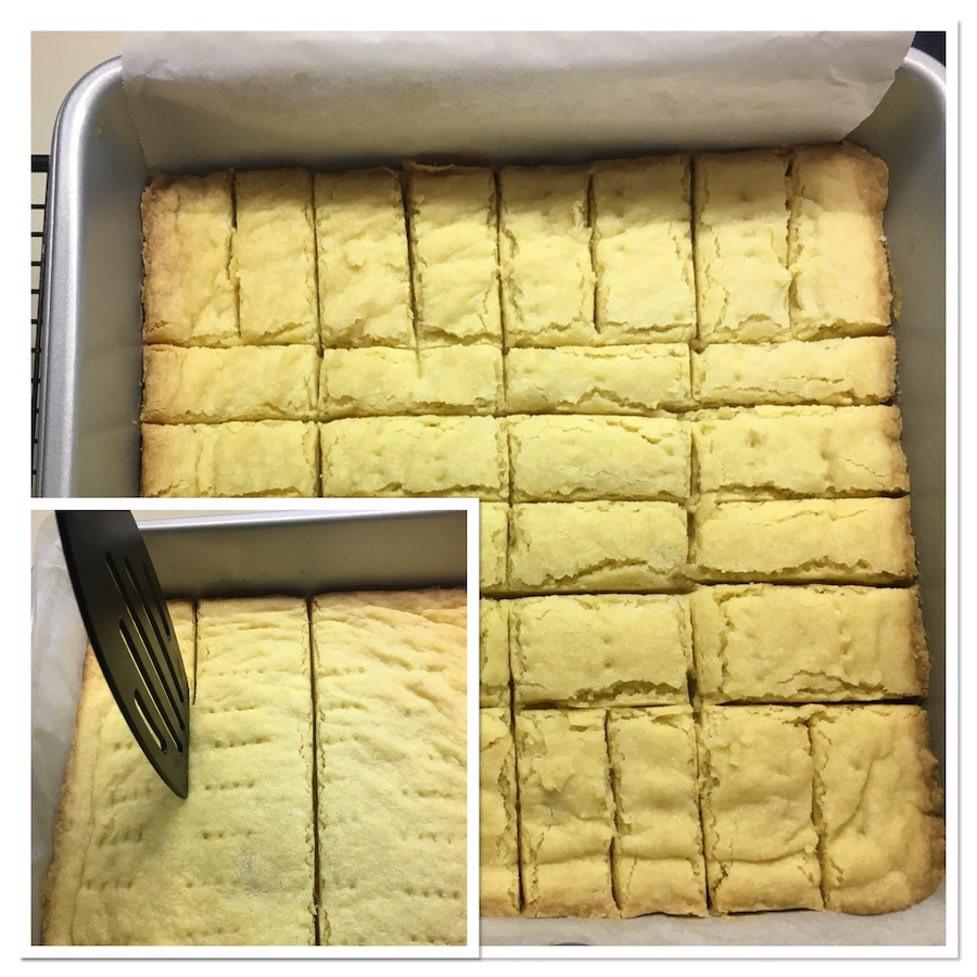 baked shortbread in pan collage