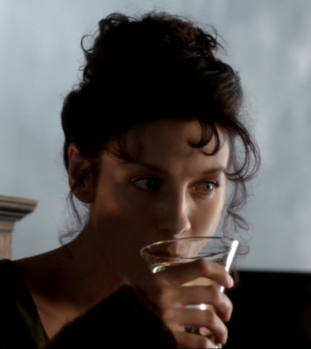 Claire Beauchamp drinking Rhenish in Outlander STARZ Season 1