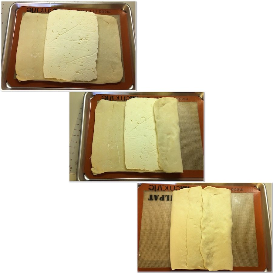 Sealing butter inside a rectangle of dough collage