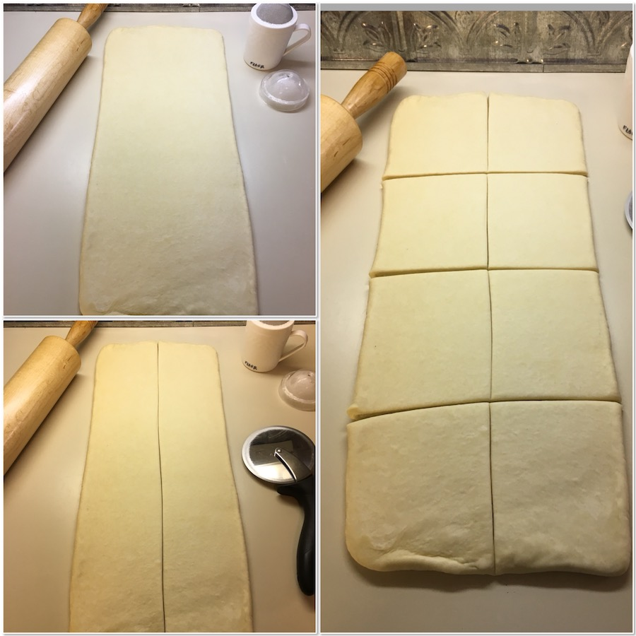 cutting laminated dough for shaping collage