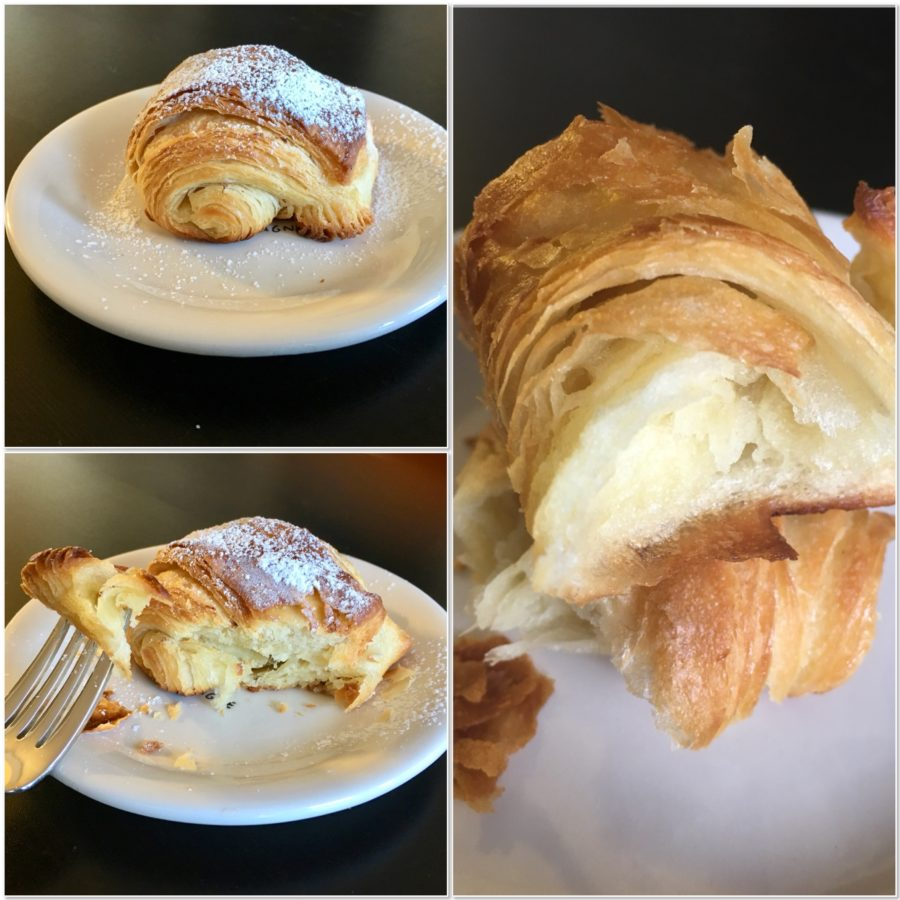 plated croissants closeup collage
