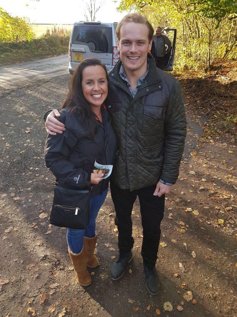 outlander season 4 behind-the-scenes photos, filming outlander, sam heughan
