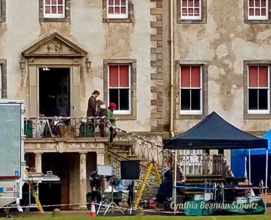 outlander season 4 behind-the-scenes filming, filming outlander, Newhailes House, Sam Heughan