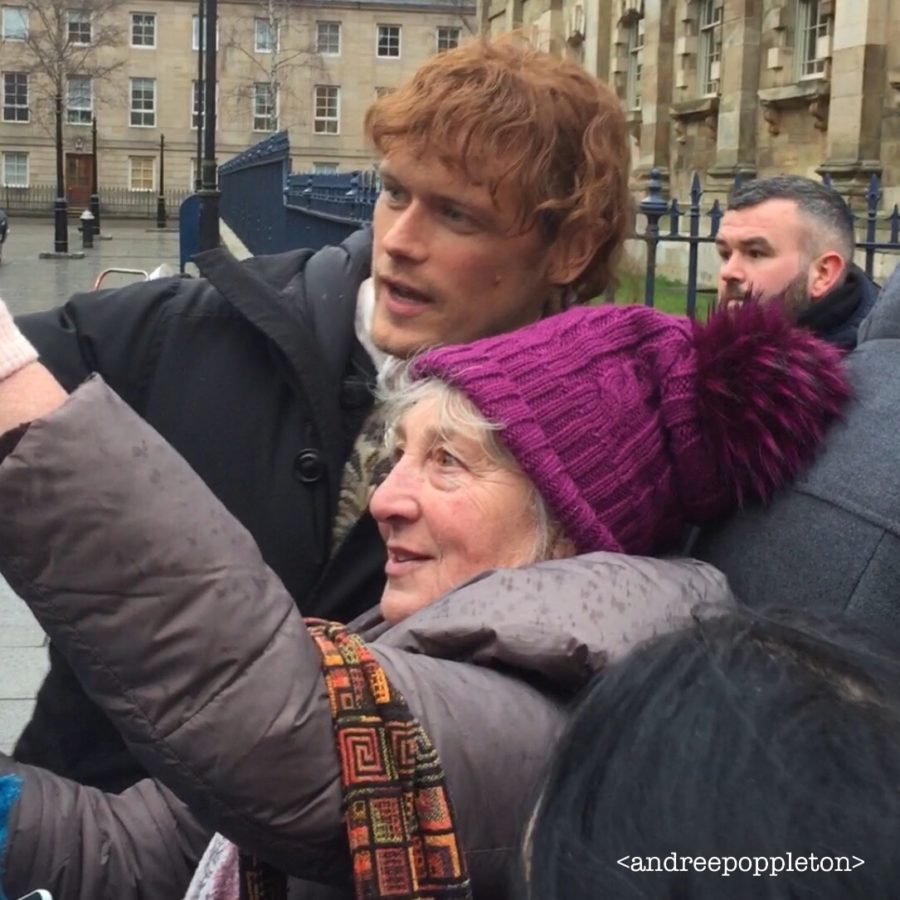 outlander season 4 behind-the-scenes photos, glasgow, sam heughan, filming outlander