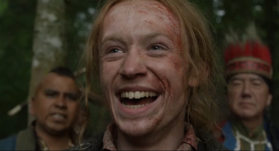 outlander season 4 finale heart score, ian's joyful face after being accepted by the Mohawks
