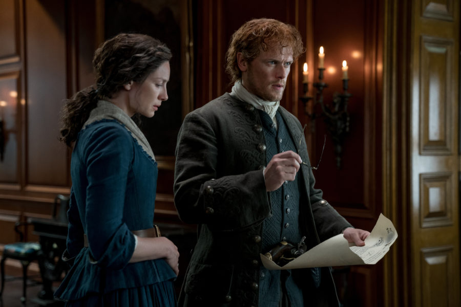 outlander season 4 finale heart score, jamie and claire, jamie discovering he has to find and kill murtagh