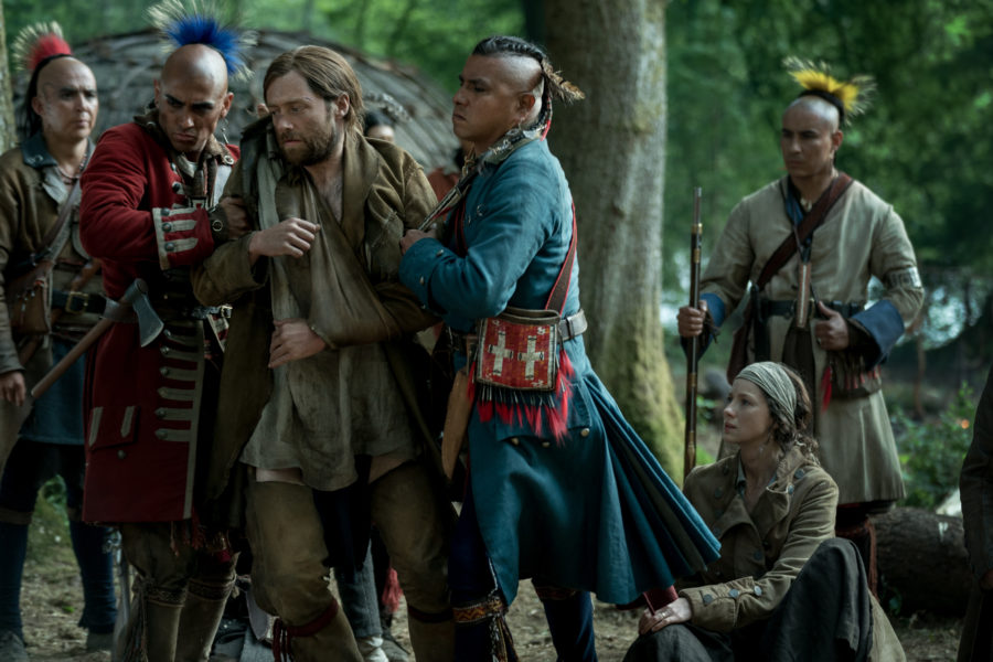outlander season 4 finale heart score, Roger being taken by the Mohawks