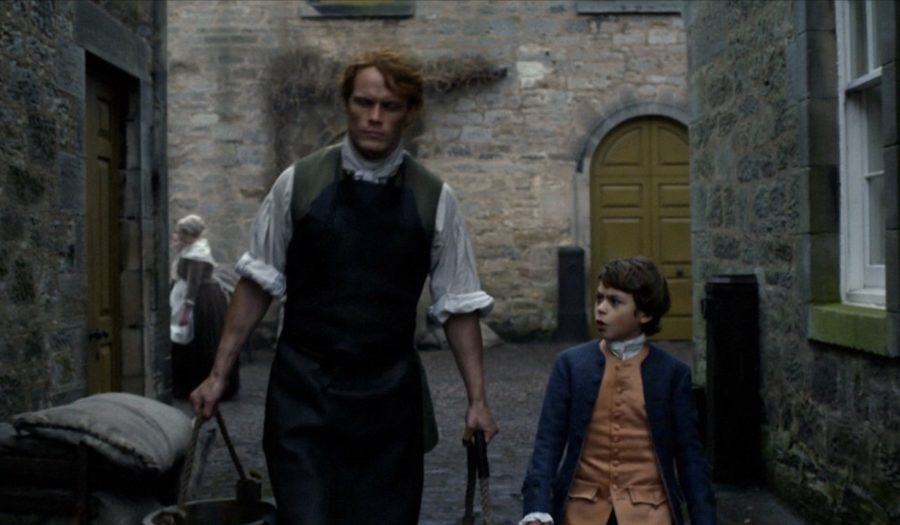 outlander update, jamie and willie in the stables at the rear of Hopetoun House