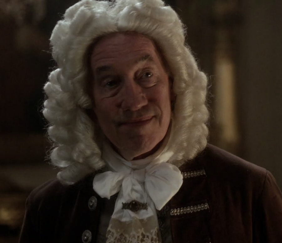 Simon Callow as the Duke of Sandringham at King Louis X!V's court from Outlander STARZ Season 2