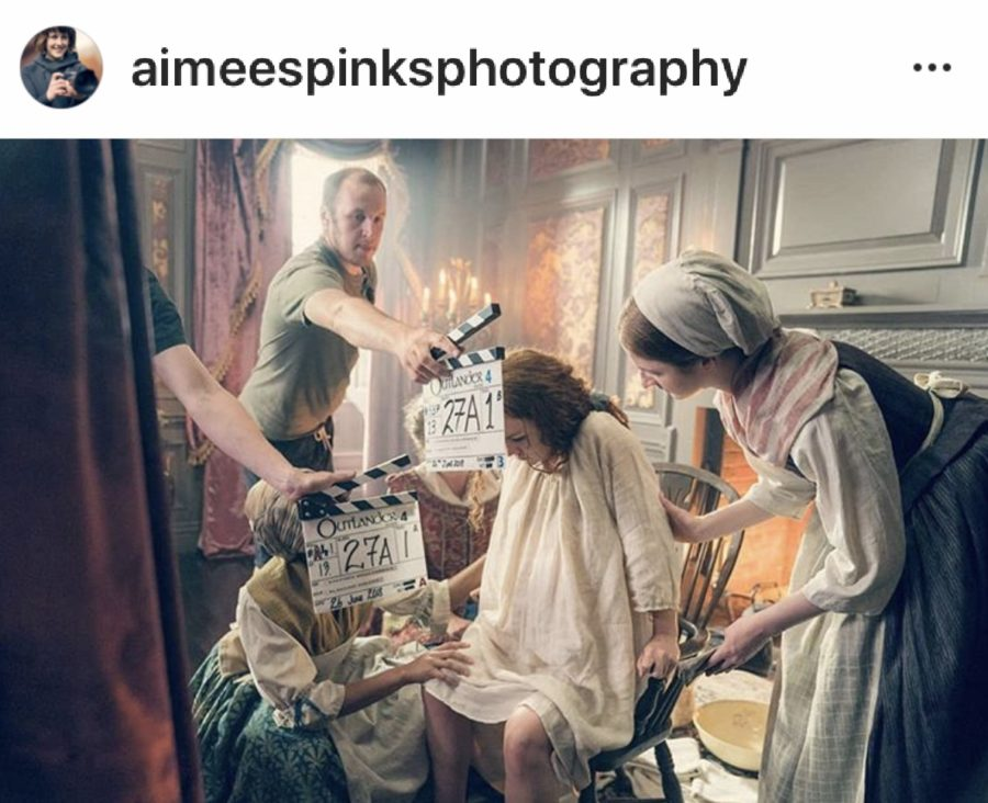 outlander season 5, behind the scenes in outlander, aimee spinks photograph of brianna giving birth