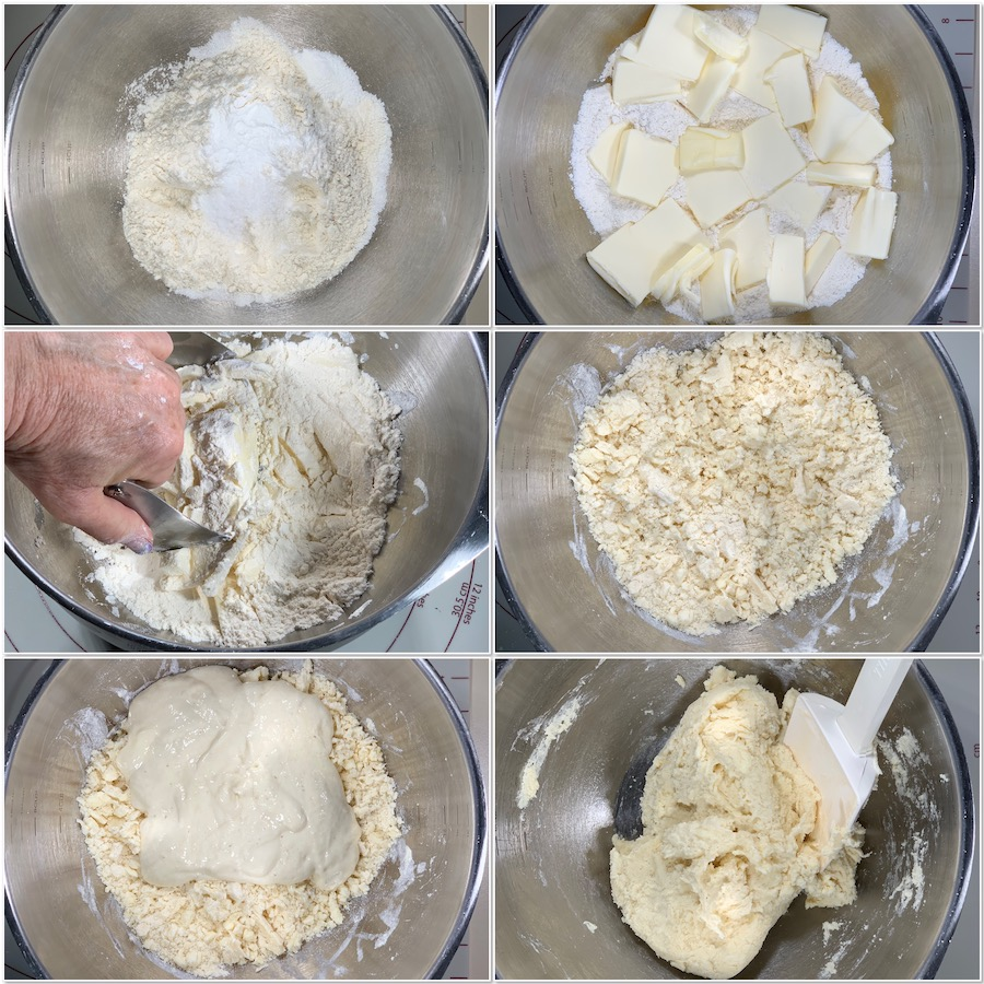 mixing up dough for sourdough biscuits collage