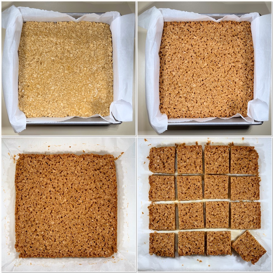 before & after baking British Flapjacks collage