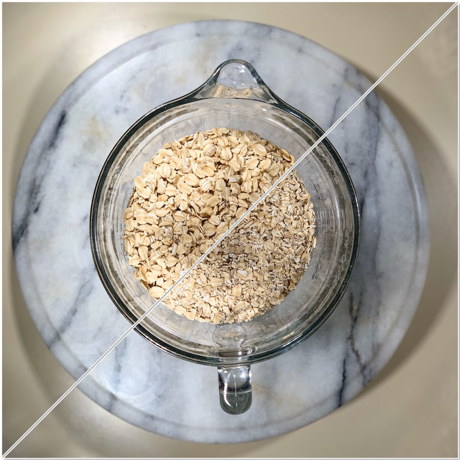 American old-fashioned oats before & after grinding