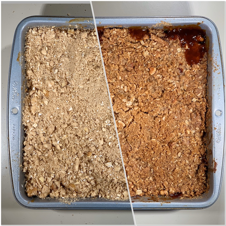 Apple Crisp before & after baking collage