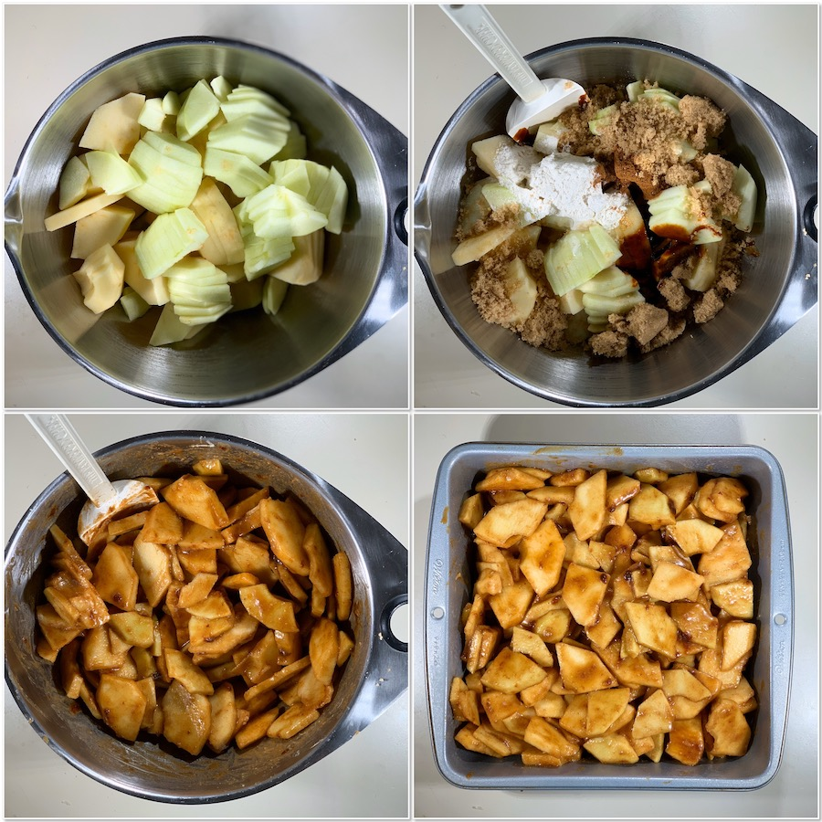 Making the Apple Crisp filling collage