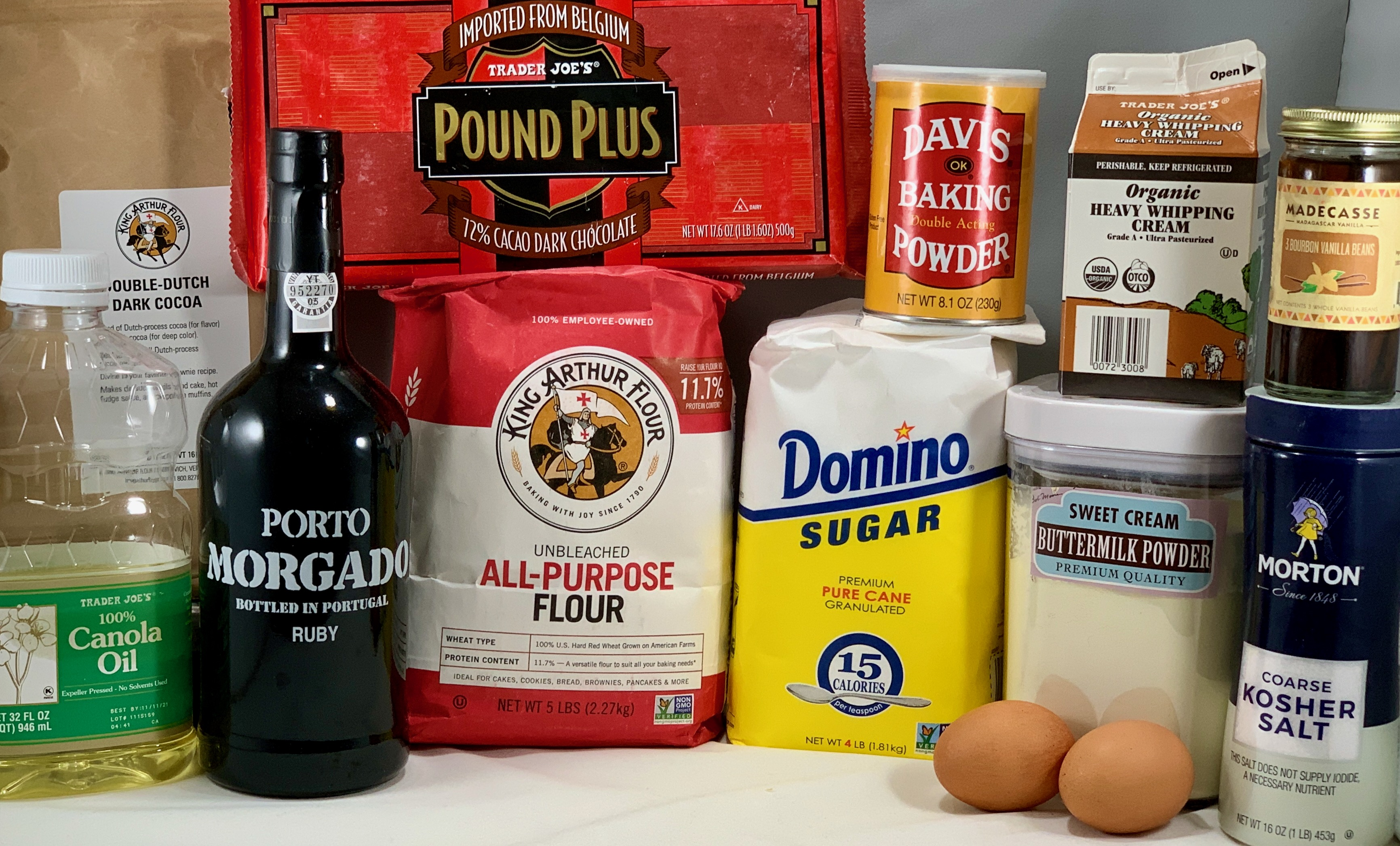 Port Wine Chocolate Cake ingredients in packages
