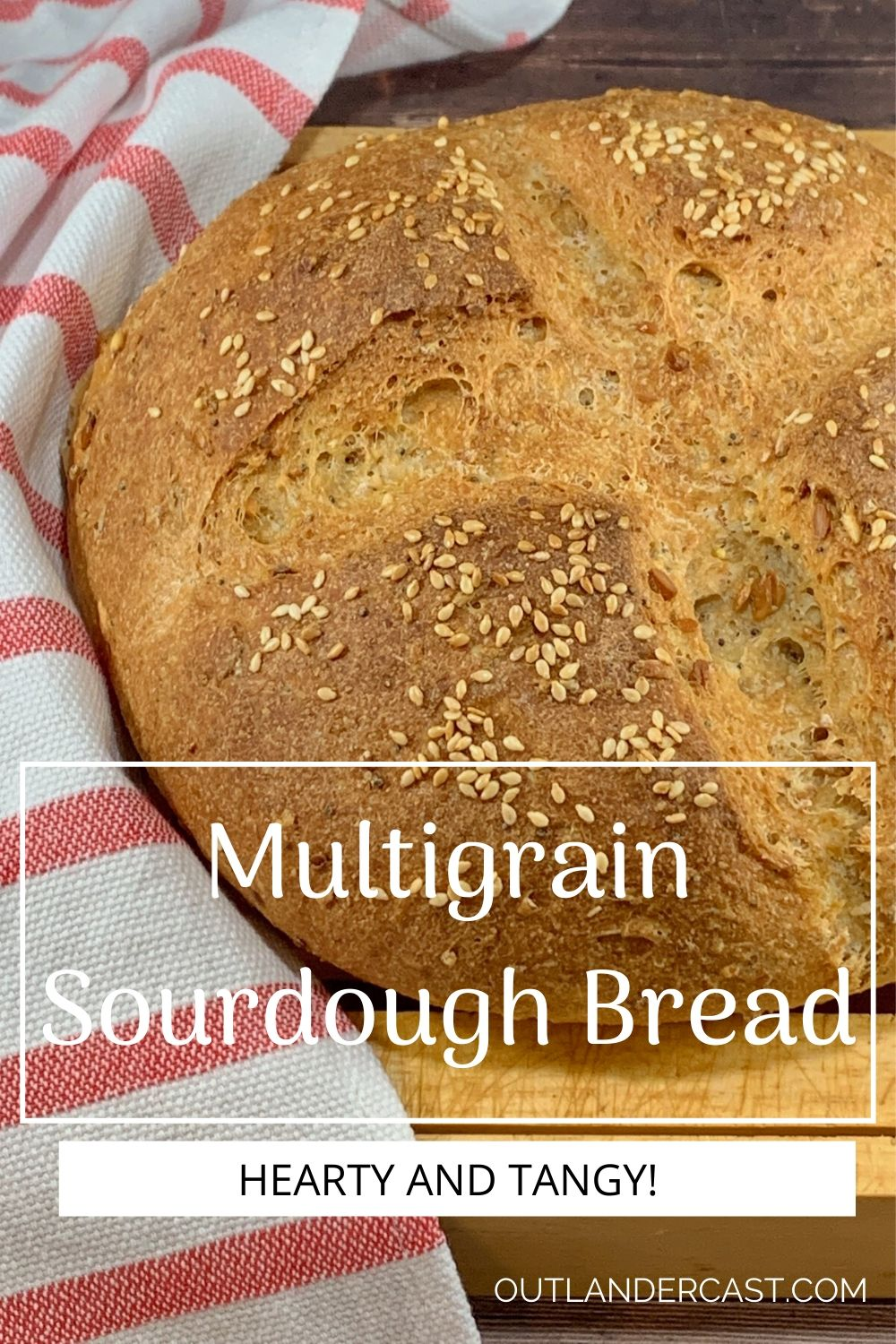 Multigrain Sourdough Bread pinterest banner 2