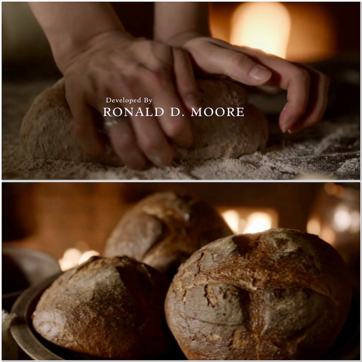 Outlander baking bread S5E2 collage