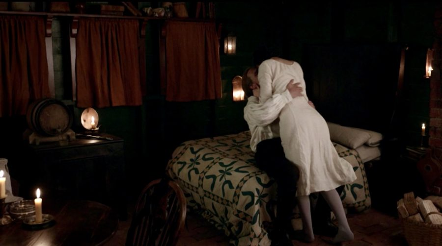 jamie and claire in their bedroom