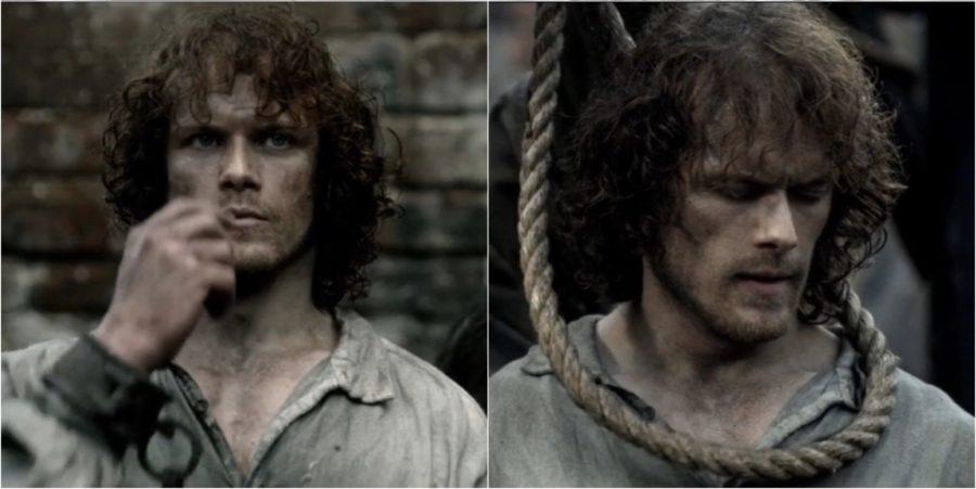 Jamie Fraser waiting to be hung in outlander season 1