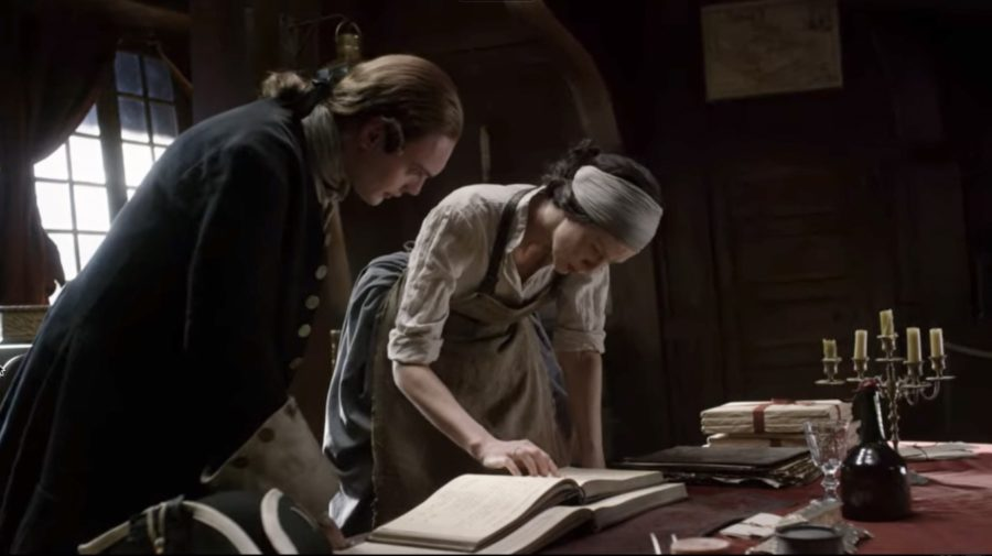 contagion in outlander, claire studies the ship's log season 3