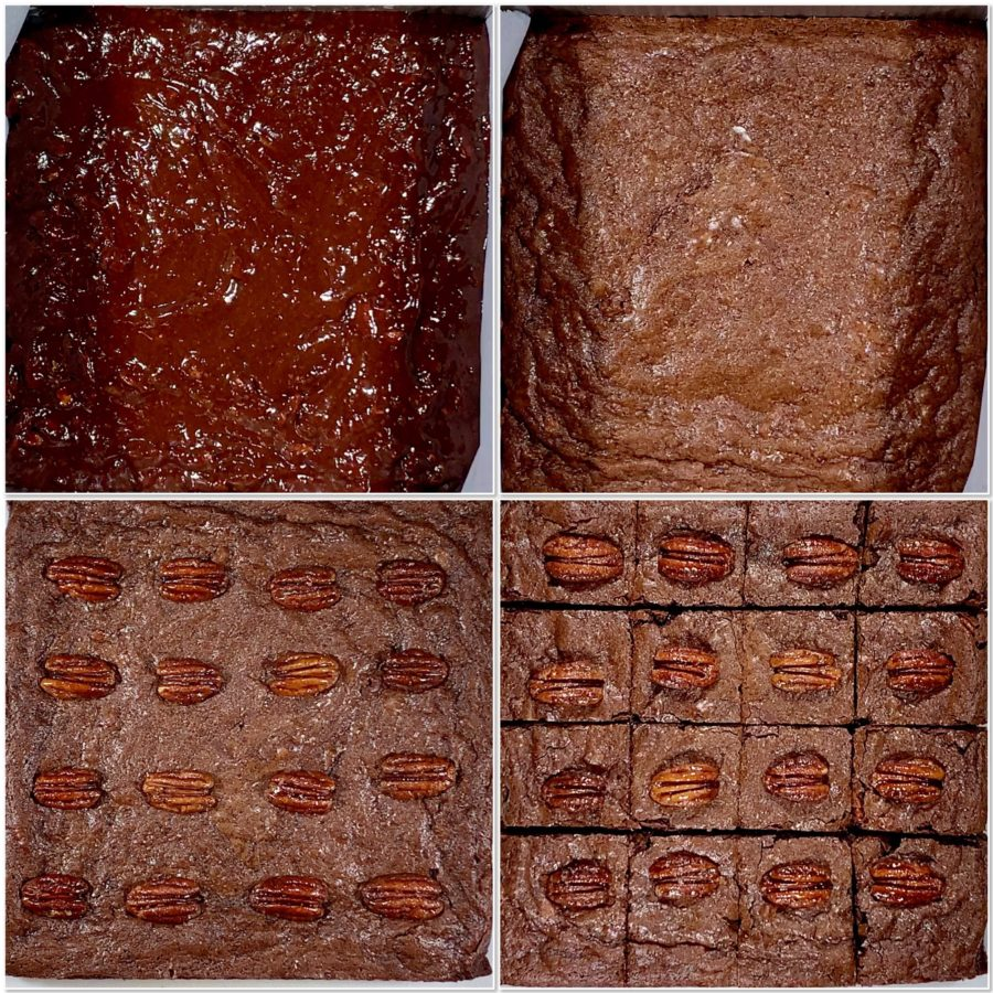 Candied Pecan Brownies batter before and after baking collage, ja-brownies