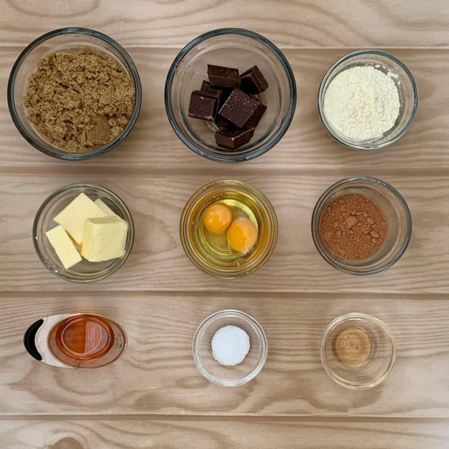 Brownies ingredients overhead