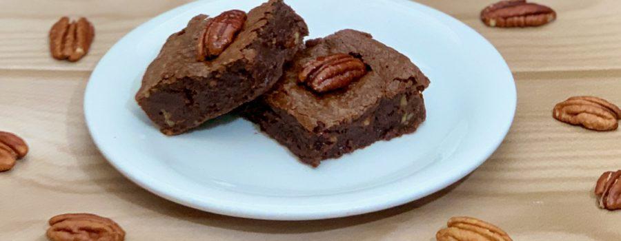 Candied Pecan Brownies plated closeup, ja-brownies