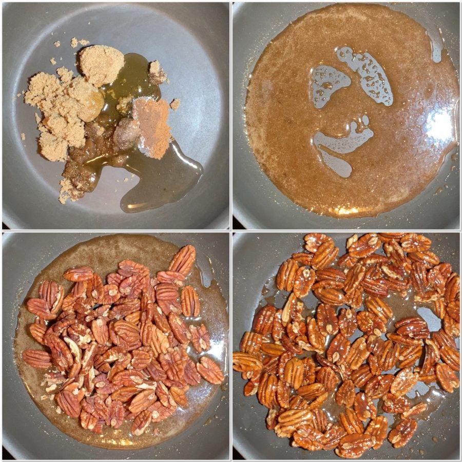 Making candied pecans collage, ja-brownies