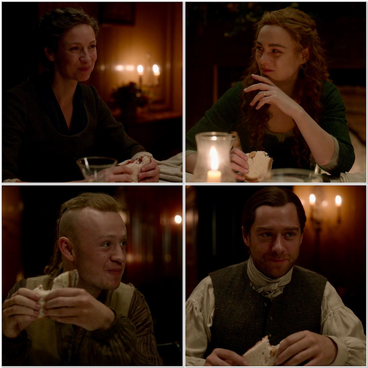 Fraser family enjoying peanut butter & jelly sandwiches collage Outlander STARZ Season 5
