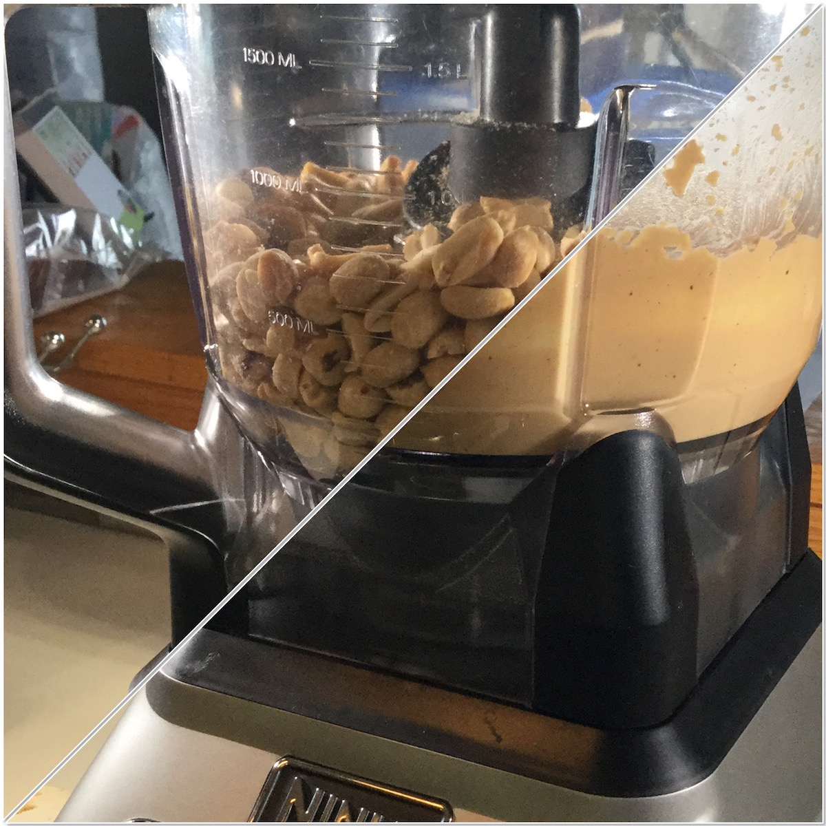 making homemade old-fashioned peanut butter in food processor collage
