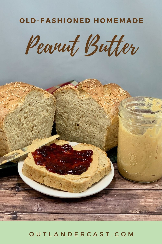 Peanut Butter & Jelly Sandwich with jar & loaf Pinterest Banner