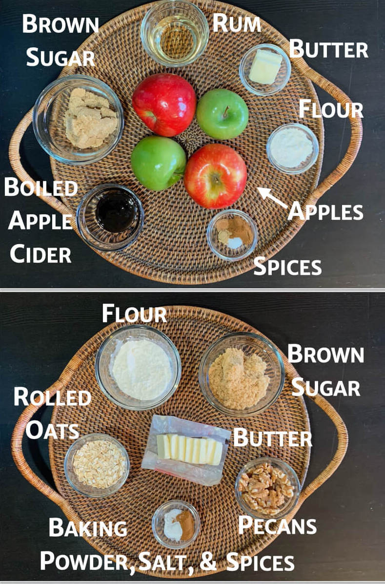Apple Crisp ingredients filling & topping on tray overheadcollage