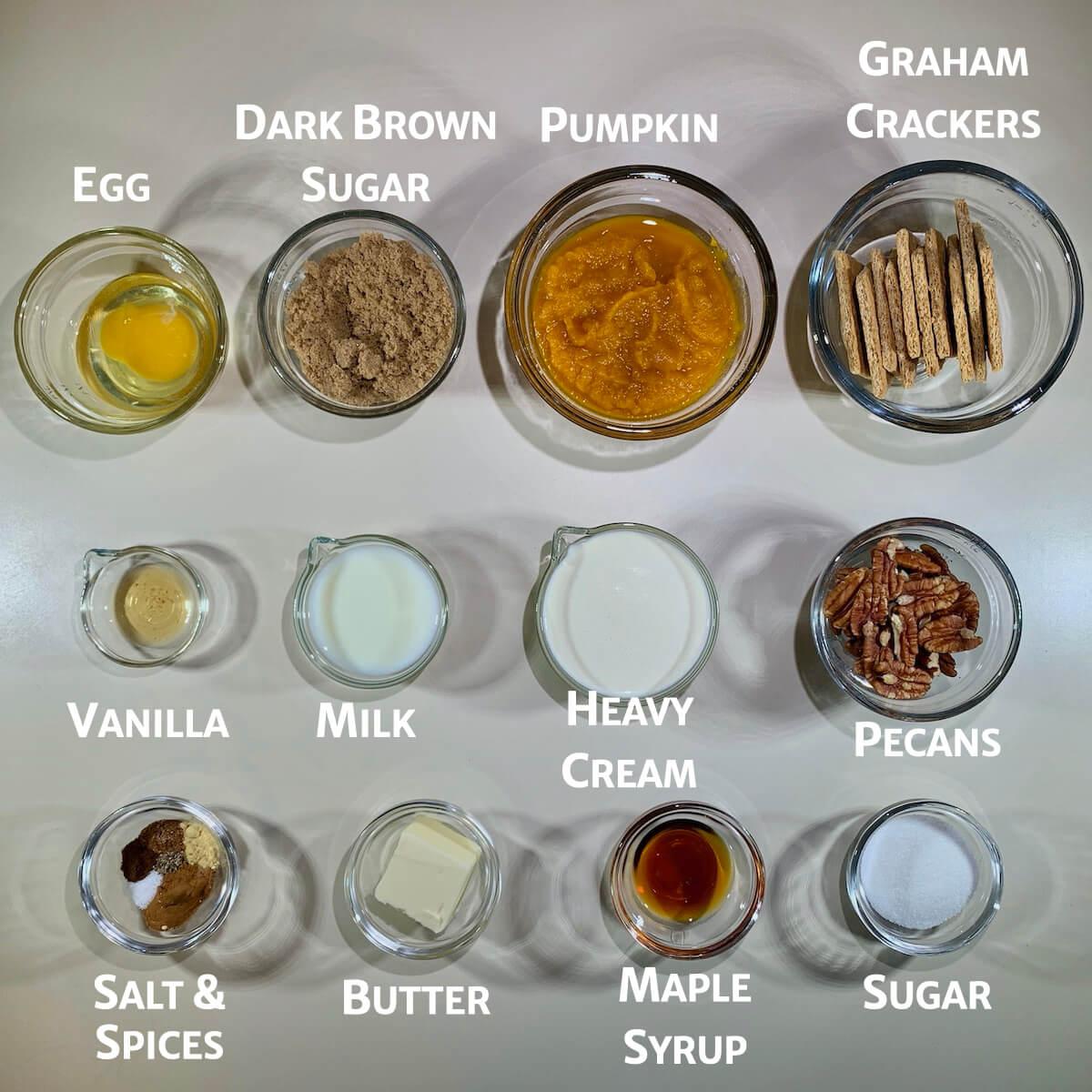 Praline Pumpkin Pie ingredients from overhead marked