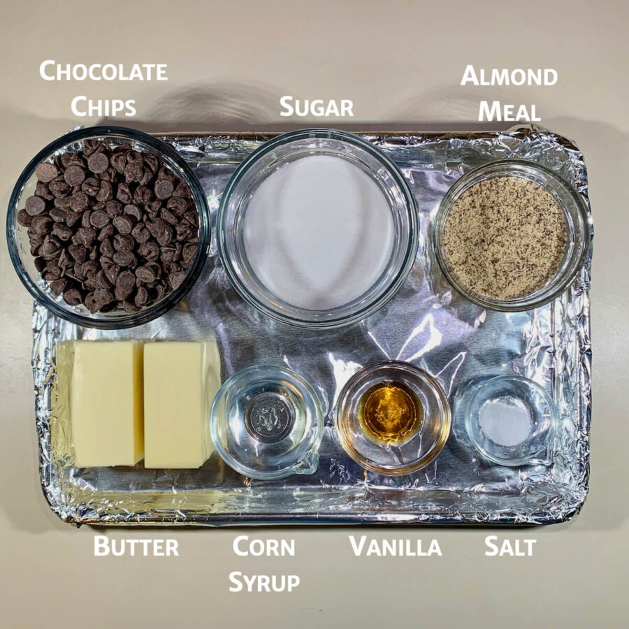 English Toffee ingredients on tray from overhead
