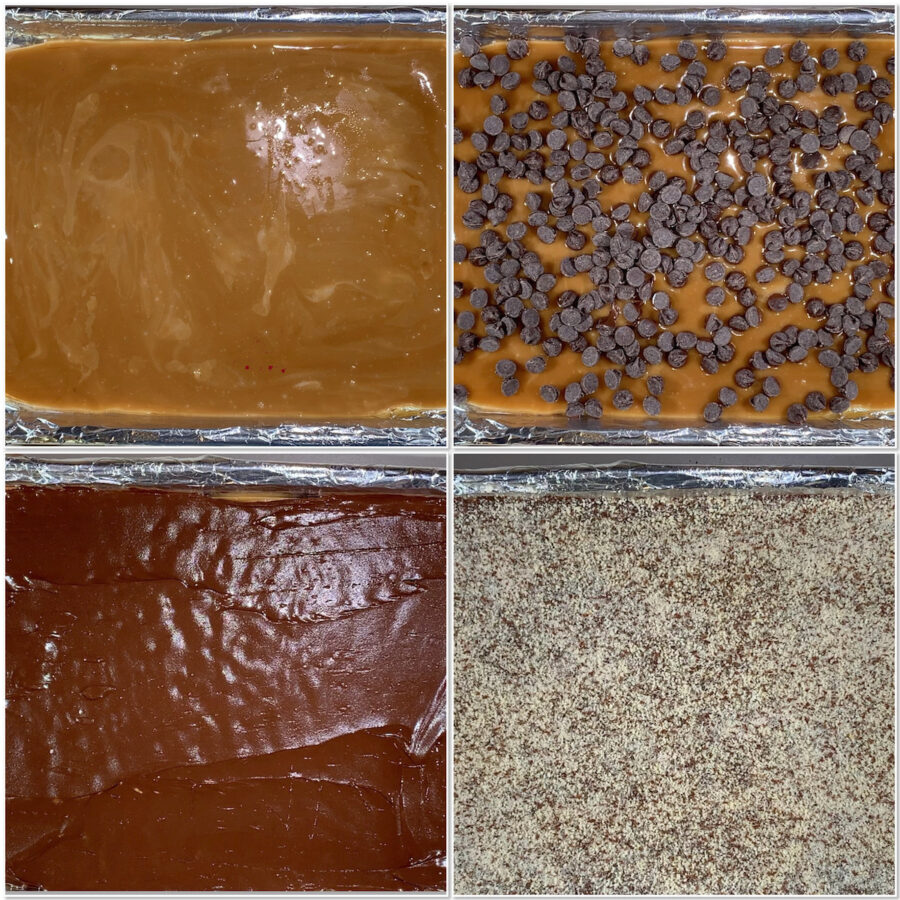 Spreading and topping English Toffee collage