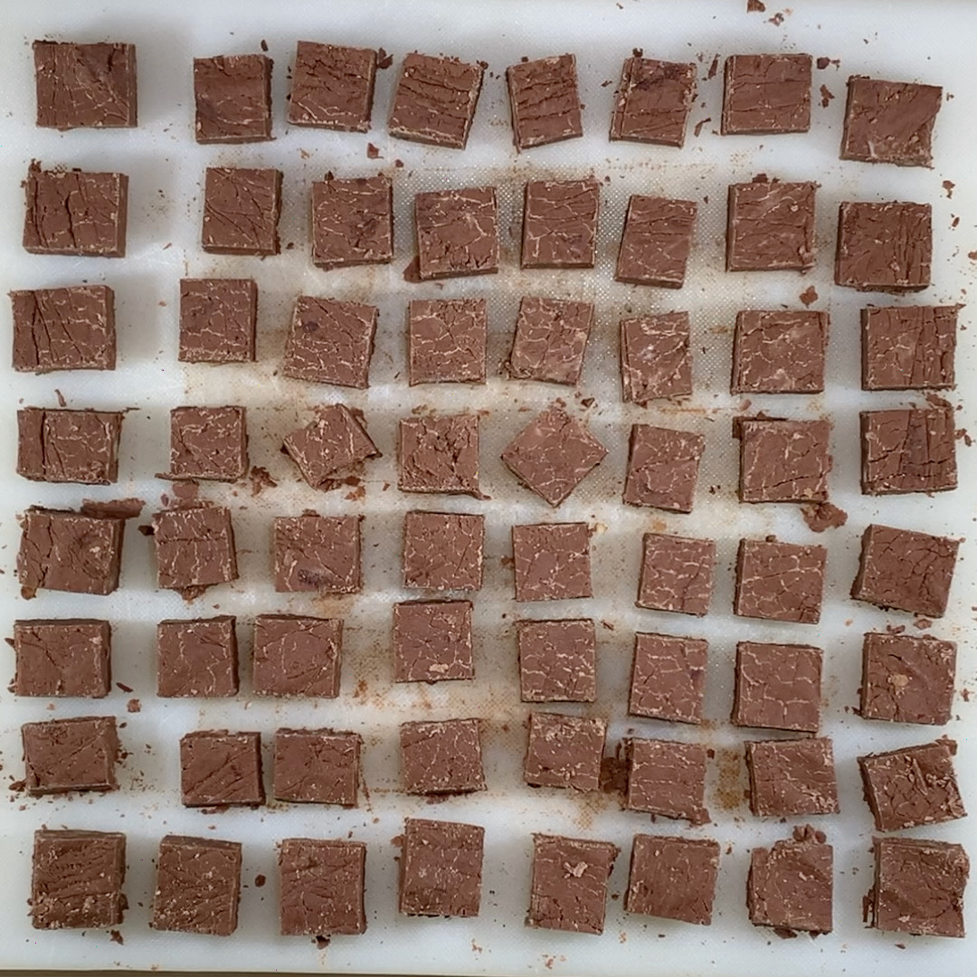 Dark chocolate Whisky Fudge cut from overhead
