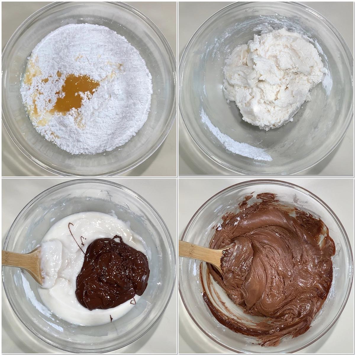 Making dark chocolate whisky fudge collage