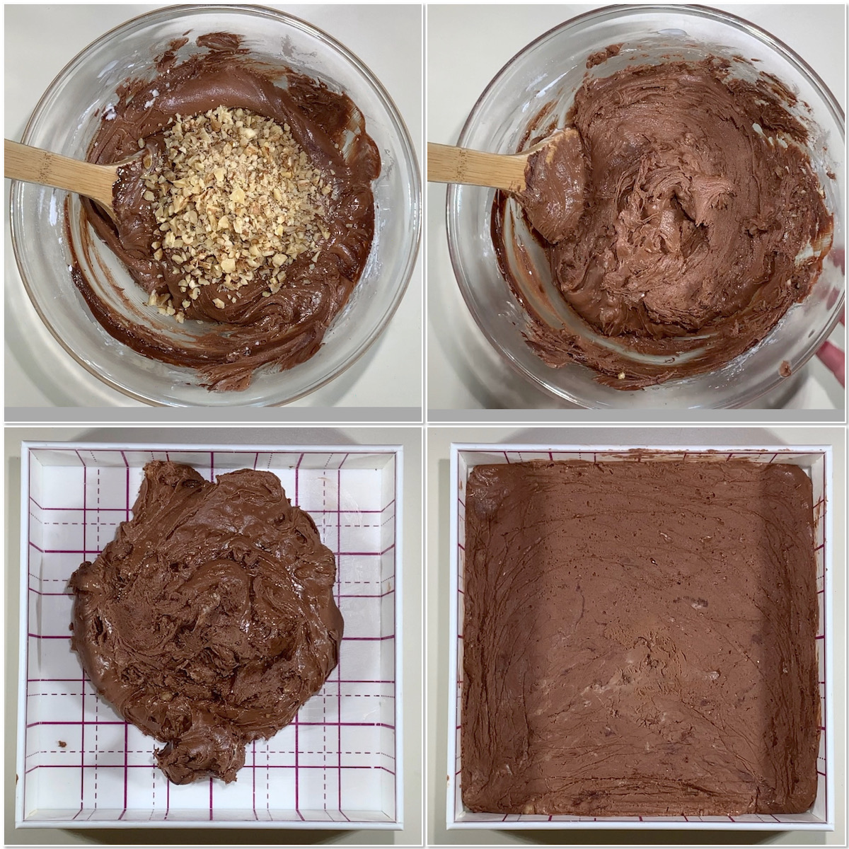 Making dark chocolate whisky fudge & pressing in the pan collage