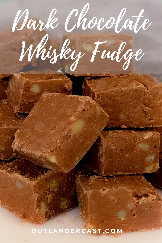 dark chocolate whisky fudge stacked Pinterest banner
