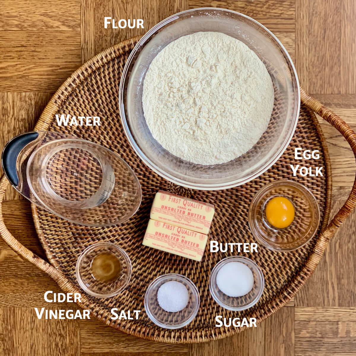 short crust pastry ingredients on tray from overhead marked