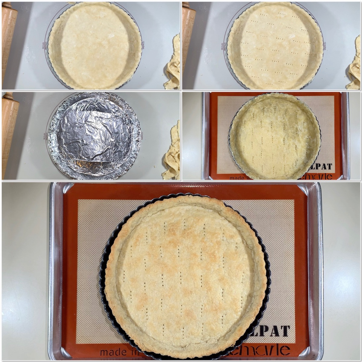 Blind baking Shortcrust Pastry dough collage
