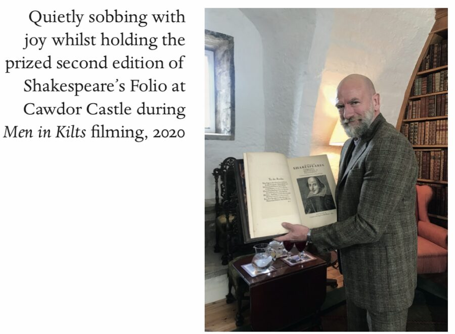 graham mctavish holding Shakespeare folio, clanlands
