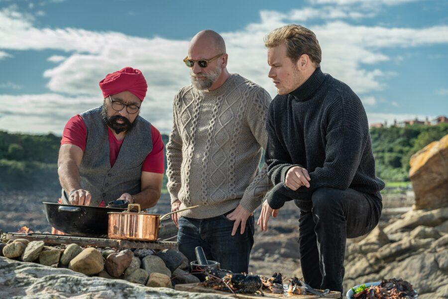 men in kilts cooking