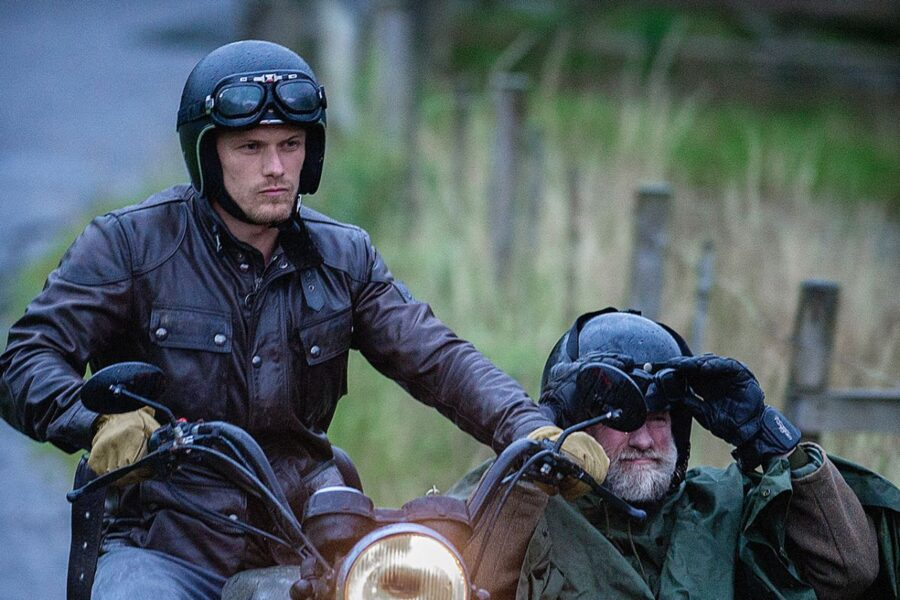 sam heughan and graham on motorcycles