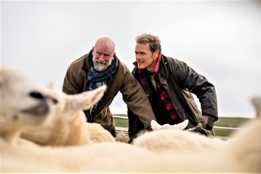 sam heughan and graham mctavish herd sheep