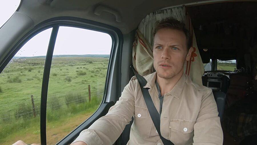 men in kilts, sam heughan driving