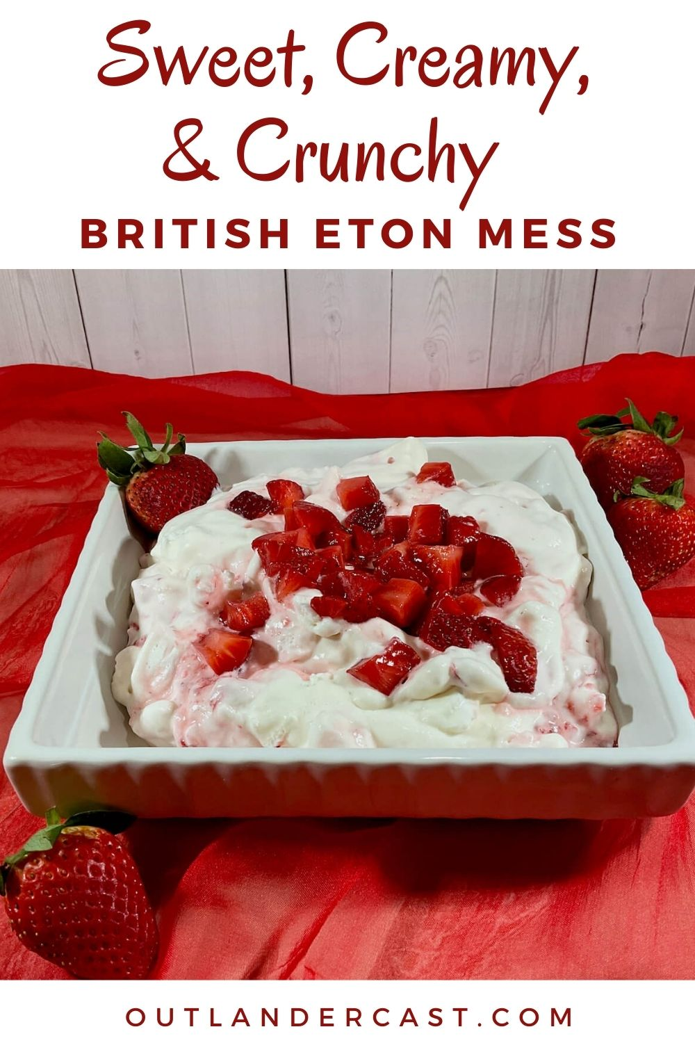 Eton Mess in a bowl on red scarf Pinterest banner