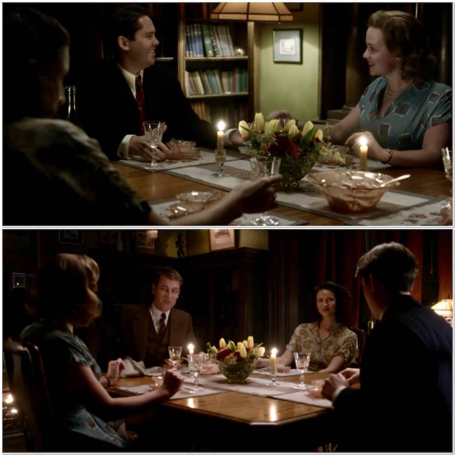 Claire & Frank's dinner party from Outlander STARZ Season 3 Episode 2 collage